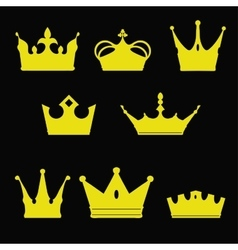 Crown collection silhouette Heraldic elements set vector