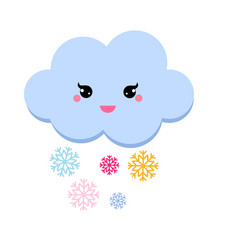 cute cloud snowfall for kids vector image