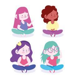 Cute little girls sitting crossed legs cartoon vector