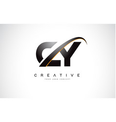 cy c y swoosh letter logo design with modern vector image