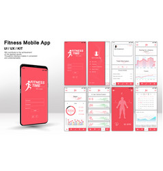 different ui ux gui screens fitnes app vector image