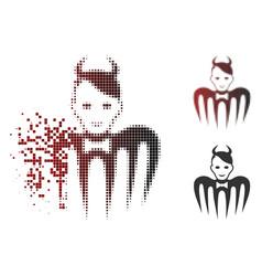 Dissolving pixel halftone devil spectre icon vector