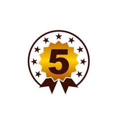 emblem best quality number 5 vector image
