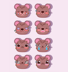 emojis kawaii cartoon faces expression bear comic vector image