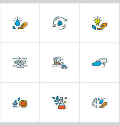 Environment icons colored line set with green vector