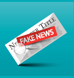 Fake news icon with newspapers and magnifying vector