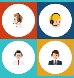 Flat hotline set of call center help vector