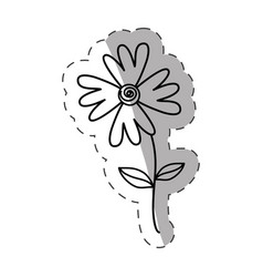 flower flora wild icon monochrome vector image