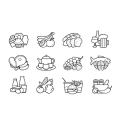 Food and drinks linear icons set vector image