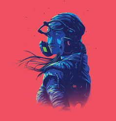 For a poster size a futuristic lady pilot vector