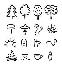 Forest items black line art set vector