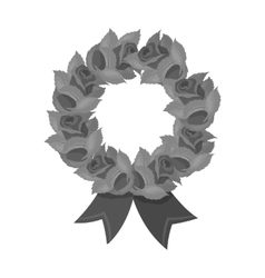 Funeral wreath icon in monochrome style isolated vector