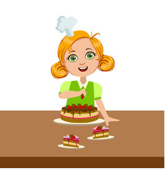 Girl decorating cake cute kid in chief toque vector