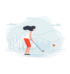 girl playing golf vector image