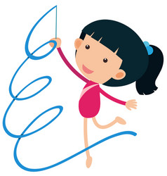 Girl playing gymnastic with ribbon vector