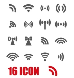 grey wireless icons set vector image