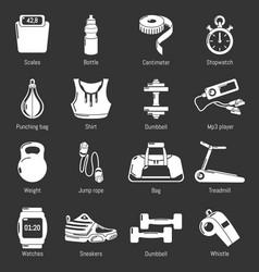 gym sport icons set grey vector image