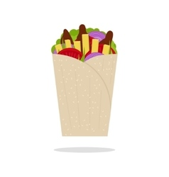 Gyros Pita Greek Fast Food Flat vector image