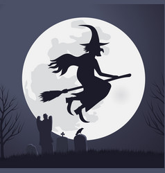 Halloween scary witch flying on a broomstick vector
