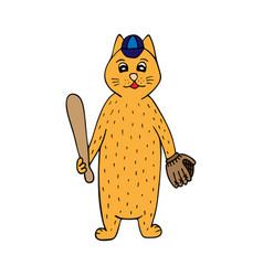 hand-drawn cat baseball player vector image