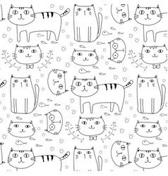 Hand drawn cats pattern background vector
