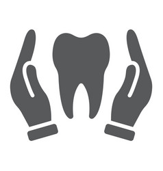 Hands holding tooth glyph icon stomatology vector