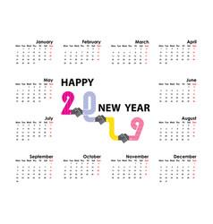 handshake and 2019 calendar templatestarts vector image