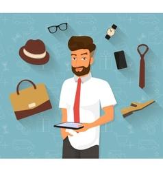 Handsome man doing online shopping vector image