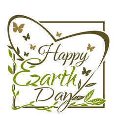 happy earth day green and gold typographic design vector image
