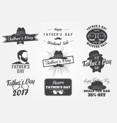 happy fathers day greeting a set of nine black vector image