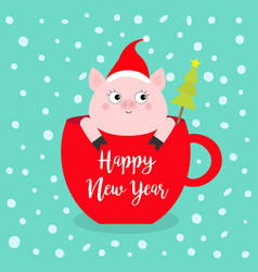 Happy new year 2019 pig sitting in red coffee cup vector
