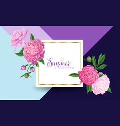 hello summer floral design pink peonies flowers vector image