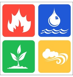 Icons for Earth Air Fire and Water vector