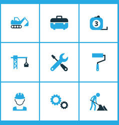 industry icons colored set with tools excavator vector image