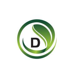 leaf initial d logo design template vector image