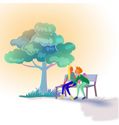 lover sitting on bench under tree while man vector image