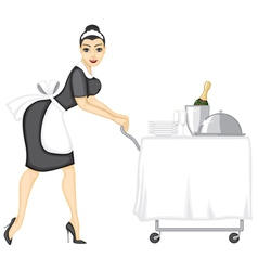 Maid brings lunch vector