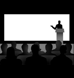 Man giving a speech on stage vector