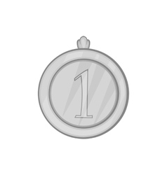 Medal for first place icon black monochrome style vector image