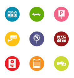 metropolis parking icons set flat style vector image