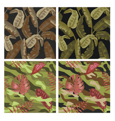 Military seamless pattern set with tropical leaves vector