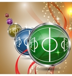 Multicolored grass sphere with soccer field vector