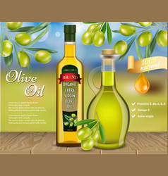 Olive oil advertising realistic template vector