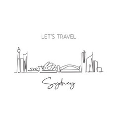 One single line drawing sydney city skyline vector