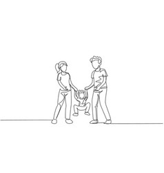 one single line drawing young mom dad holding vector image