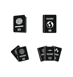 passport icon set simple style vector image