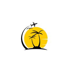 Plane travel vacation logo vector
