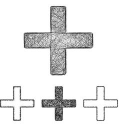 Plus icon set - sketch line art vector