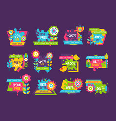 premium quality super sale label set cartoon style vector image