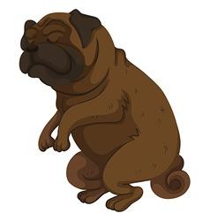 Pug dog closing its eyes vector